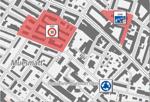 Diverse erfasste Massnahmen in einem Quartier